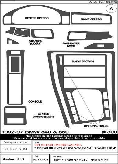 1996 E31 840ci Real Wood Interior Trim